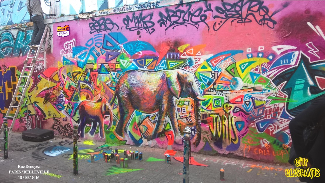 Secondaire >> STREET-ART-PARIS-BELLEVILLE-RUE-DENOYEZ-GRAFFITI-CITY-ELEPHANTS-BY-JORIS - JORIS DELACOUR
