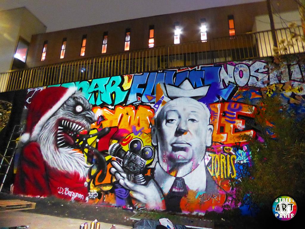 STREET-ART-PARIS-GRAFFITI-LES-FRIGOS-LE-PERE-NOEL-EST-UNE-ORDURE-SELON-HITCHCOCK-BY-DOCTEUR-BERGMAN-ET-JORIS