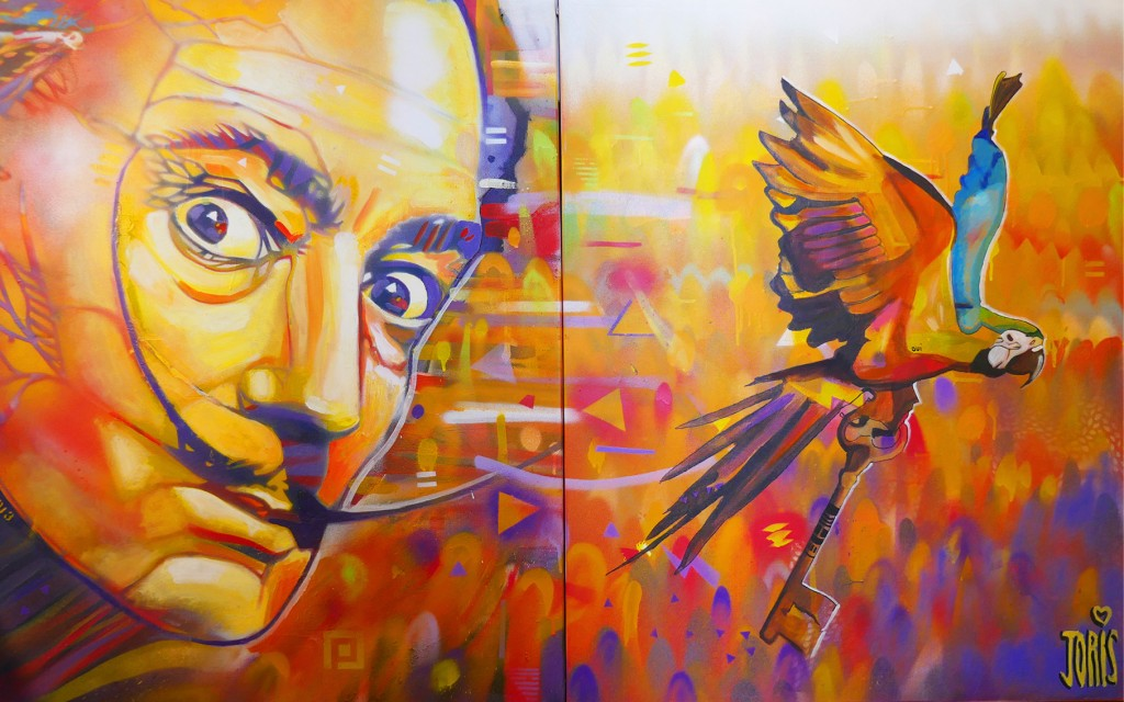 STREET-ART-PARIS-GRAFFITI-TABLEAU-DALI PERROQUET-BY-JORIS-