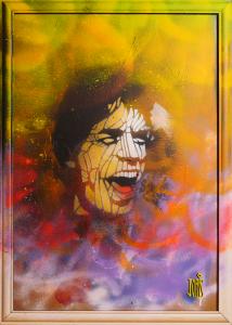 Joris Delacour COSMIC JAGGER 70 x 50 x 1 Graffiti, Pochoir, 300 €