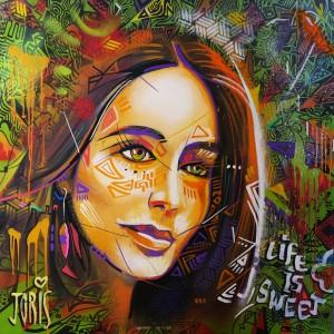 Joris Delacour LIFE IS SWEET 100 x 100 x 2 Acrylique, pinceau, bombe, encre 600 €