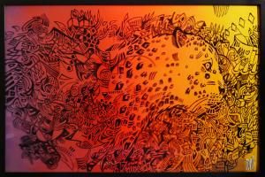 Joris Delacour SUNSET PANTHERA 60 x 90 x 3,3 Graffiti, Encre, Marqueur